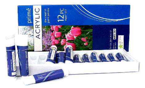 Paint sets - Prime Art Acrylic - White Only - 12 tubes